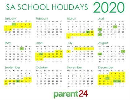 2020 South Africa School Holiday Calendar Printabl School Holiday Calendar Holiday Calendar School Calendar