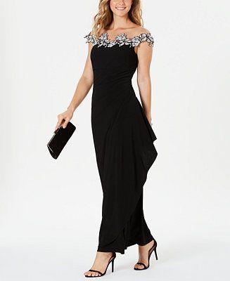 Msk Floral Applique Gown Reviews Dresses Women Macy S Spotsylvania Mall Womens Dresses Review Dresses Gowns