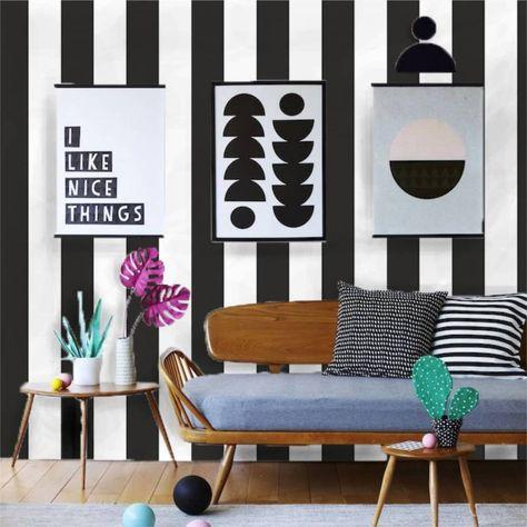 Papel de parede listrado preto e branco 022