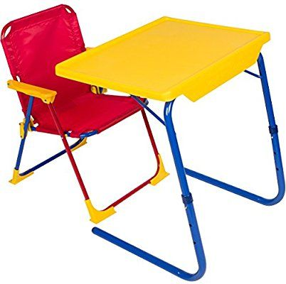 Amazon Com Table Mate 4 Kids Plastic Folding Table And Chair Set Red Blue Yellow Kitchen Dining Desk And Chair Set Art Activities For Toddlers Chair Set Childrens folding table and chair sets