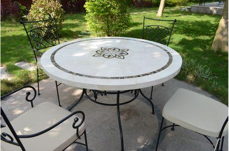 Table De Jardin Mosaique Pierre Ronde Emperador Et Travertin