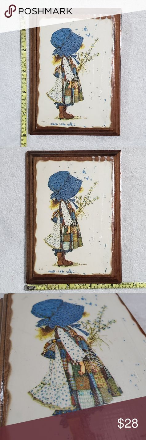 Vintage Holly Hobbie Wall Plaque/Art 1970s Photos are description!! Super neat Holly Hobbie wall art!! This was my grandmother's and she took great care of her belongings.   This art has some paper or glue at the top right. It looks like it's supposed to be there (see 6th photo) Has hardware on back to hamg. Artist initials on lower left. Holly Hobbie Wall Art Art & Decals