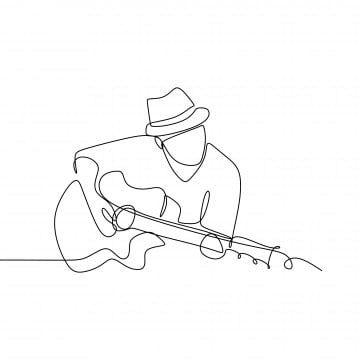 Persona Que Canta Una Cancion Con Guitarra De Jazz Acustico Continuo Dibujo Ilustracion Vectorial Dis Dibujos De Guitarras Dibujo Minimalista Dibujo Con Lineas