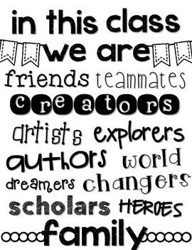 """""""In This Class We Are..."""" Poster FREEBIE inspirational quotes classroom poster classroom decor"""