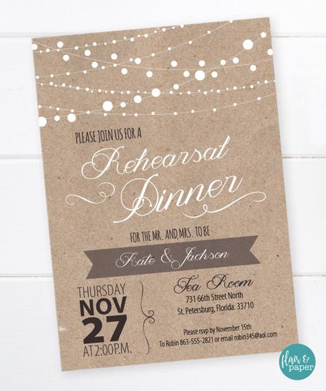 rustic rehearsal dinner invitation dinner party invitation
