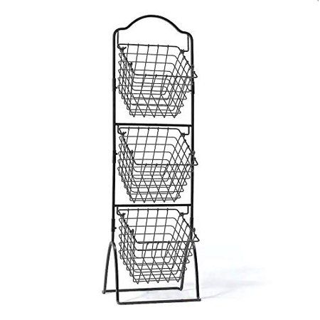 3 Tier Metal Basket Stand Quality Wire Bread Display Rack Fruit