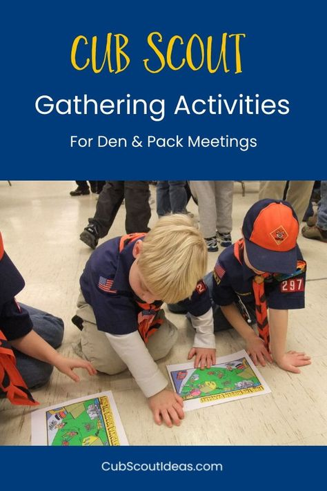 Cub Scout gathering activities are a great way to start your den or pack meetings. You'll find ideas ranging from word search puzzles to scavenger hunts to group games that are perfect for the kids in your group. #CubScouts #CubScout #Scouting #Webelos #ArrowOfLight #GatheringActivities