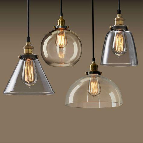 Lampadario Sospensione Vetro Trasparente.Vetro Moderne Luci A Sospensione Industriale Edison Lampada A