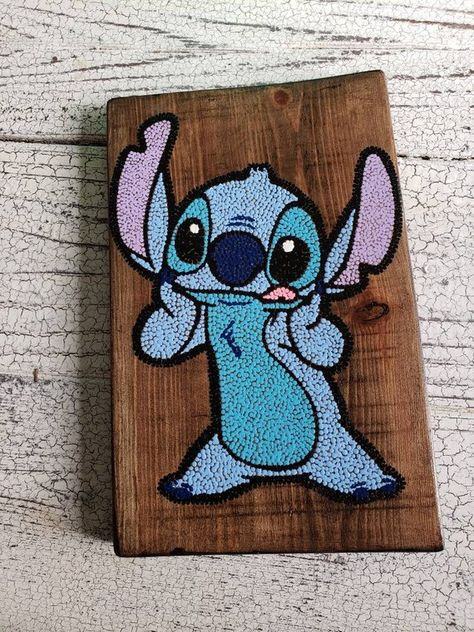 Stitch dot art // hand painted wood art // wooden wall hanging // home decor // wall decor // kids room decor // lilo and stitch gifts Hand painted dot art of Stitch from Lilo and Stitch on cut, sanded, and stained wood. Can be done on 6x6 wood or 9x6 (pictured) if another size is wanted please