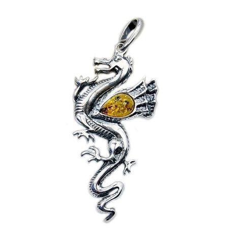 The Silver Plaza Sterling Silver Baltic Amber Pendant Necklace