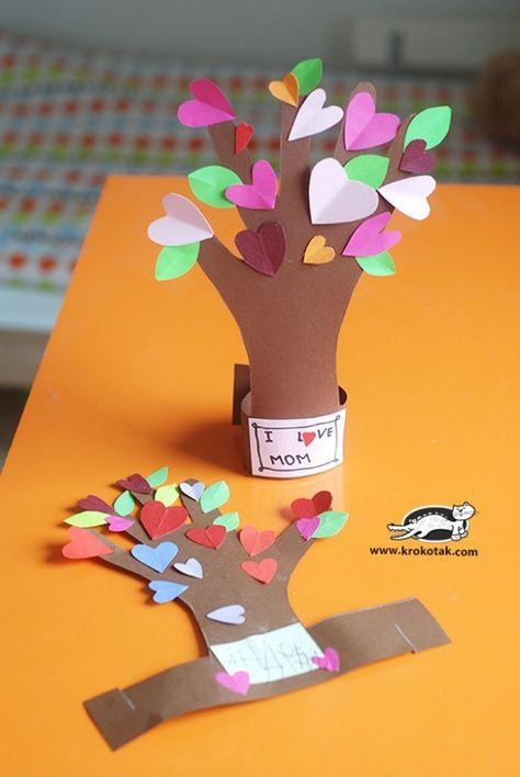 13 Creative and Sweet Kindergarten Mother's Day Crafts - Heart Felt Hand Tree - KindergartenWorks