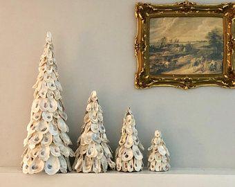 Oyster Shell Tree Christmas Tree Nautical Decor Coastal Etsy In 2020 Coastal Christmas Decor Sea Shell Decor Nautical Decor