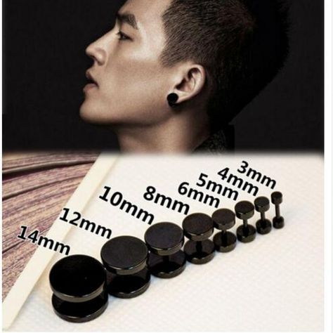 Stainless Steel Black Gothic Barbell Stud Earring //Price: $8.95 & FREE Shipping //     #gothic