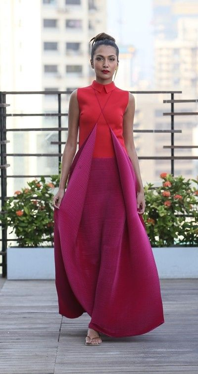 payalkhandwala - - Neoprene and Pleated Dress