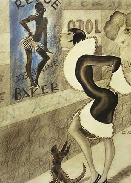 Josephine Baker cartoon from the German Magazine Ulk – 1928 by Dodo aka Dorte Clara Wolff