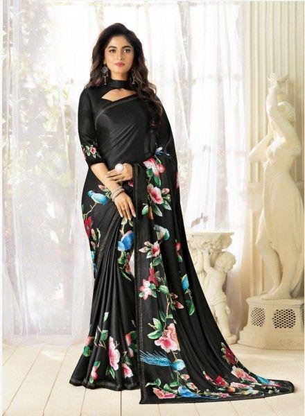 Floral Printed Black Bollywood Party Wear Saree Indian Designer Sari