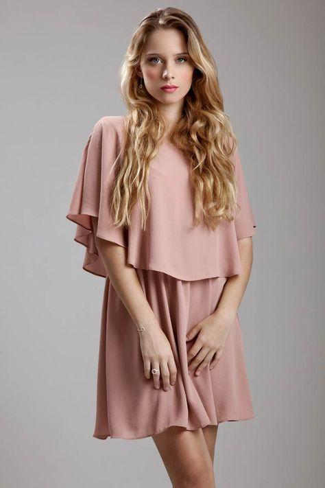 Vestido Corto Sencillo Color Rosa Palo Ropita Vestido