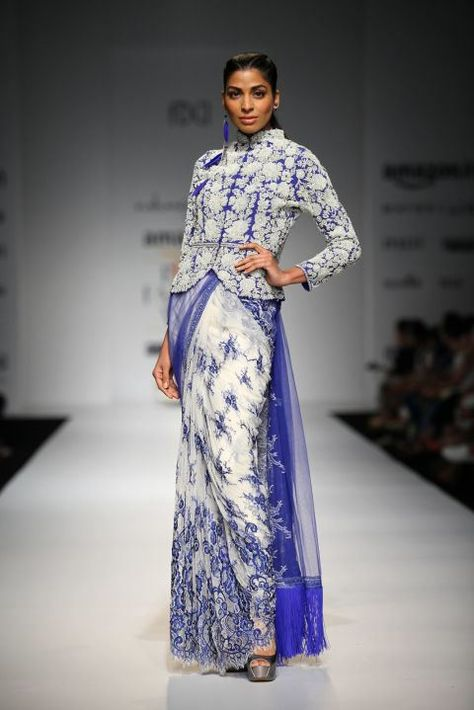 Rabani and Rakha presents Ivory and blue embroidered sari with blue pearl flower jacket and lace trousesr available only at Pernia's Pop Up Shop.