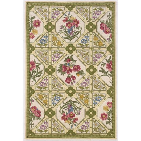 Savoy Collection Fl Panel Rug Medium Green Marcella Fine Rugs On Josain