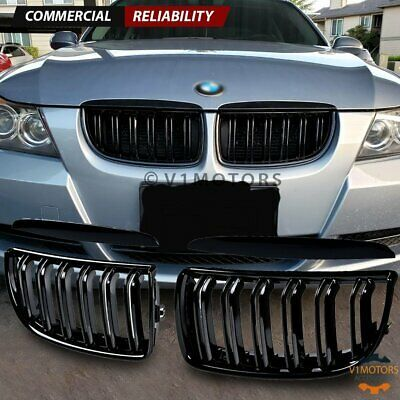Sponsored Ebay Glossy Black Front Kidney Grille Dual Slats For 05 08 Bmw E90 E91 3 Series 4dr In 2020 Bmw Bmw 320d Camper Parts