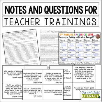 Free Notes And Literacy Training For Teachers Teacher Literacy