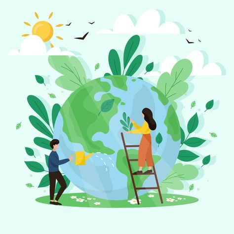 Save the planet concept   Free Vector #Freepik #freevector #globe #earth #eco #recycle
