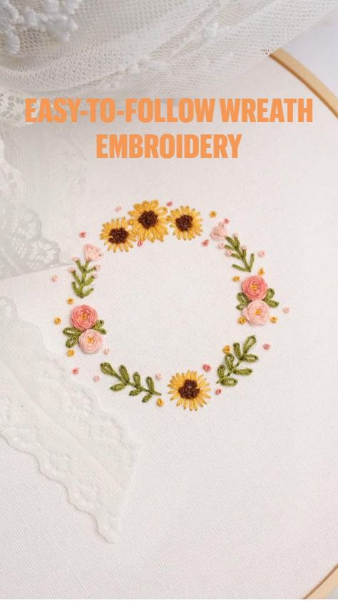 Easy-to-follow wreath embroidery