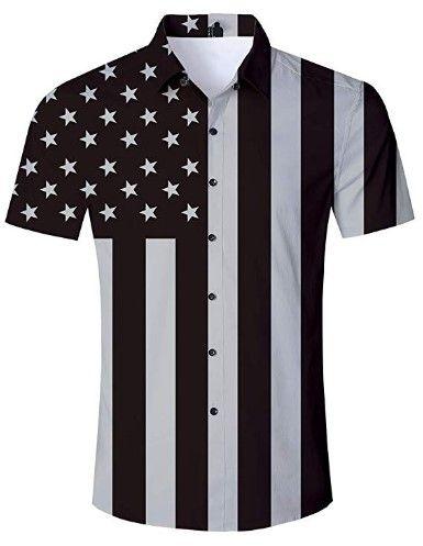 Men Hawaiian Style Lapel Short Sleeve Shirt Button Down Tops Casual Summer Party