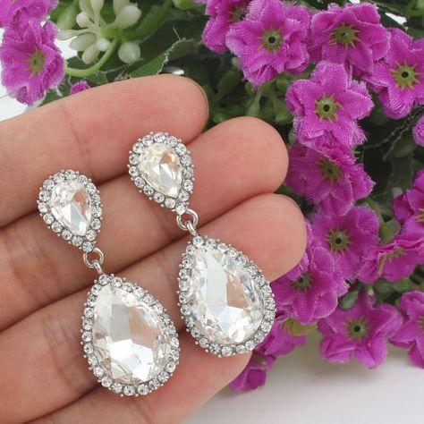 213b674c9 Bridal-Bridesmaid-Teardrop-Clear-Rhinestone-Crystal-Dangle-Pierced-Earrings -E623