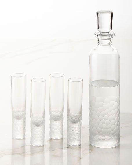 Vista Alegre Arctic Vodka Decanter And Four Shot Glasses With