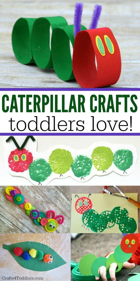 "Toddlers and kids love these super easy Caterpillar Crafts! These kids crafts go. Toddlers and kids love these super easy Caterpillar Crafts! These kids crafts go great with ""The Very Hungry Caterpillar"" children's book. The Very Hungry Caterpillar Activities, Caterpillar Art, Hungry Caterpillar Party, Chenille Affamée, Arts And Crafts Movement, Bug Crafts, Wood Crafts, Insect Crafts, Butterfly Crafts"