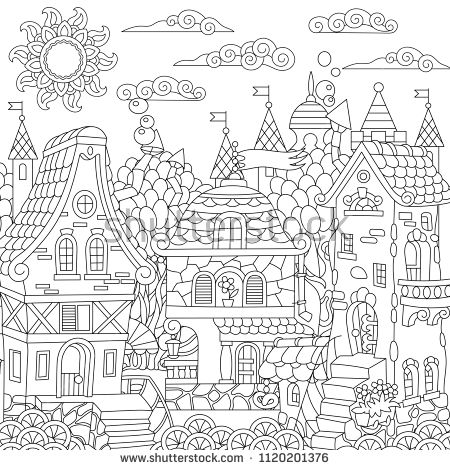 Fairy Tale Town Fairytale City Fantasy Downtown With Vintage