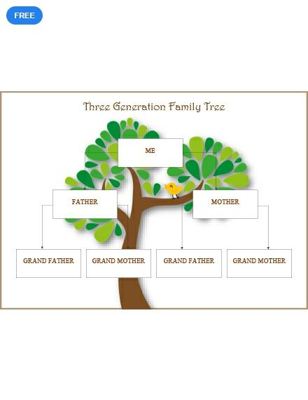 Three Generation Family Tree Template Free Pdf Word Apple Pages Template Net Family Tree Template Family Tree Tree Template