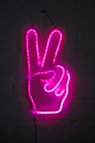 Peace Sign Led Light Neon Sign Bedroom Neon Signs Neon Wallpaper