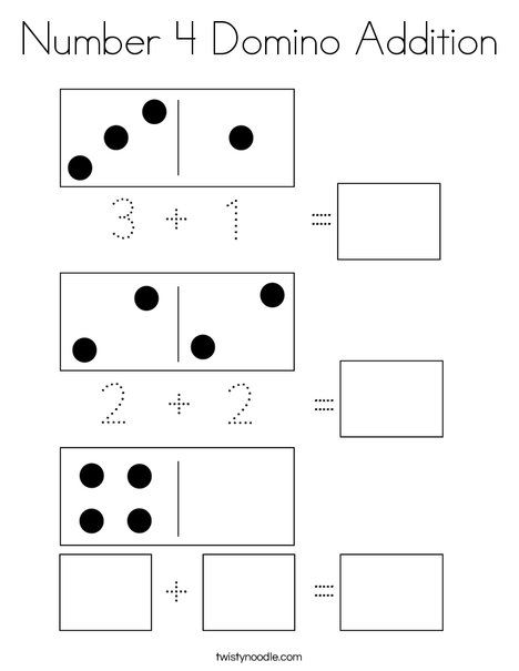 Number 4 Domino Addition Coloring Page Twisty Noodle Coloring Pages Addition Worksheets Math For Kids