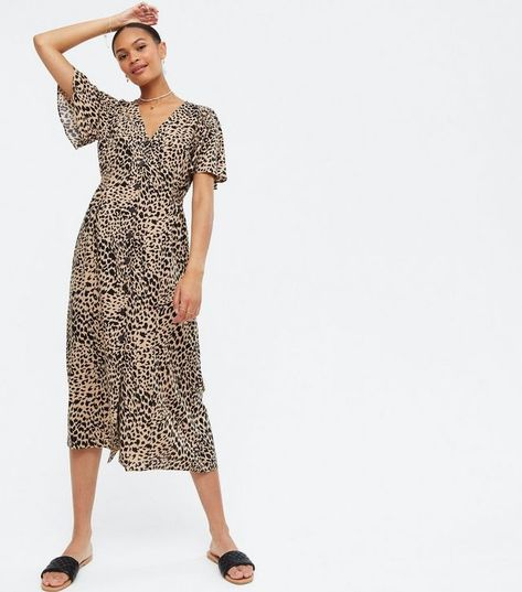 Brown Leopard Print Midi Shirt Dress   New Look