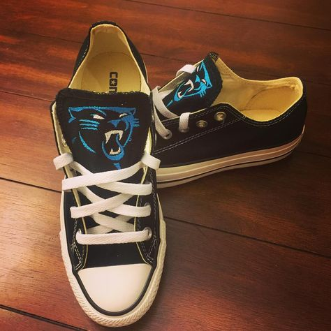 It's football time in Charlotte!!! Ready for Saturday!! Go PANTHERS!!!!! #panthernation #keeppounding #monogrameverything #embroideredchucks