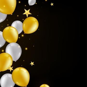 Birthday Golden And White Balloon Background Balloon Background Greeting Card Png And Vector With Transparent Background For Free Download Balloon Background Birthday Background Design Balloons