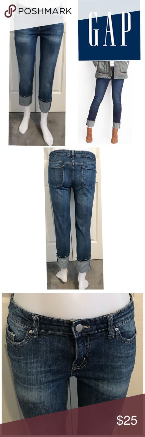 df17cc6f6789 Gap Straight Cuff Coupe Droite A Revers Crop Jeans Gap