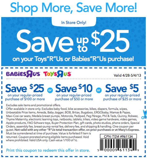 20 off a single item at Toys R Us \ Babies R Us coupon via The - coupon disclaimer examples