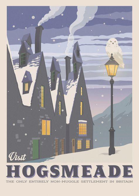 Hogsmeade Village Retro Travel Poster Harry Potter Vintage Illustration Geekery Art Mo Vintage Illustration Harry Potter Bildschirmhintergrund Reiseposter