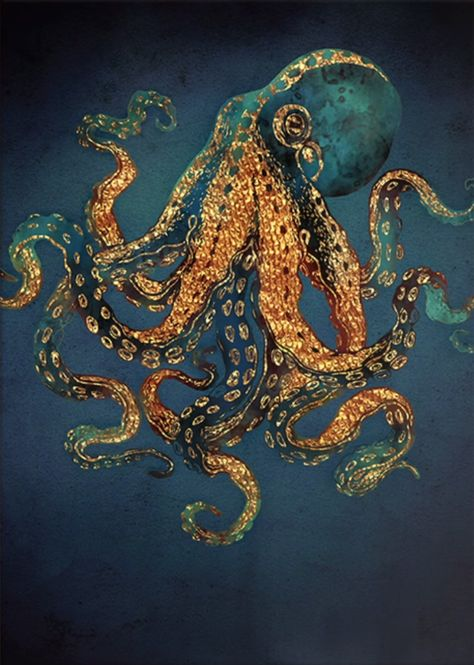 Octopus Jon Hoffman Green Ocean Sea Nautical Tattoo Black Market Fine Art Print