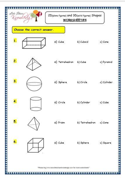 Grade 3 Maths Worksheets 14 3 Geometry 2d Plane Figures And 3d Solid Figures Shapes Geometry Worksheets Shapes Worksheets Shapes Worksheet Kindergarten