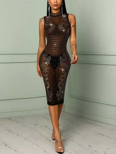 Shiny Hot Drilling See Through Bodycon Dress