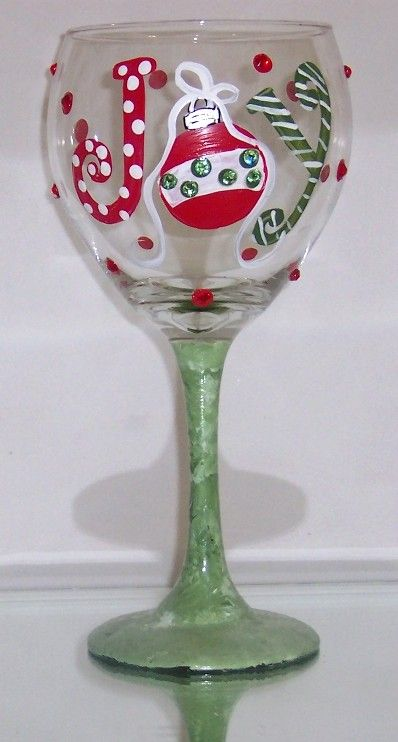 JOY Holiday Christmas Wine Glass- Swarovski crystals. This is a ...