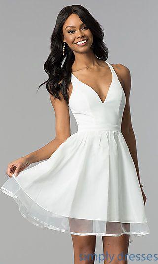 Ivory Short A Line Lace Back Graduation Party Dress White Short Dress White Dresses Graduation White Dress Party