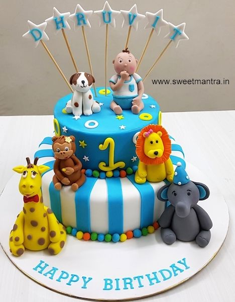 Animals Theme 2 Layer Customized Fondant Cake With 3d Baby Boy