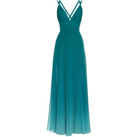 Elie Saab Dégradé V-neck georgette gown (4.030 BRL) ❤ liked on Polyvore featuring dresses, gowns, vestidos, long dresses, elie saab, green, plunging v neck dress, green gown, blue long dress and blue dresses