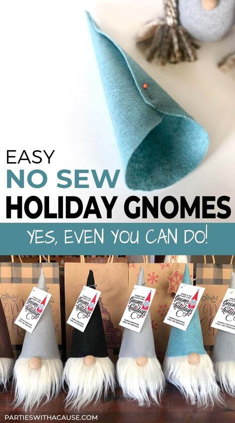 Looking for a fun and easy project that YES even you can do! These adorable no sew gnomes are SO simple! Get the full tutorial and printable patterns at Parties With A Cause. They also make for a great DIY gift for any holiday! Diy Gifts For Girlfriend, Diy Christmas Gifts For Boyfriend, Diy Gifts For Dad, Diy Gifts For Friends, Boyfriend Gifts, Kids Christmas Gifts, Friend Crafts, Preschool Christmas, Modern Christmas