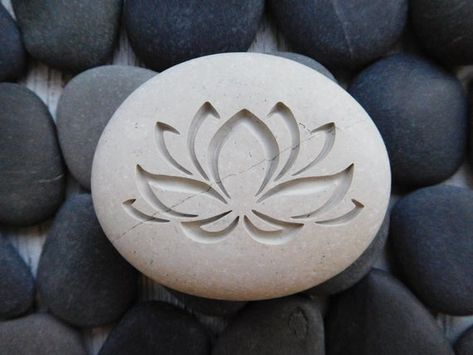 Personalized Lotus Flower Stone on Natural Sea Rock